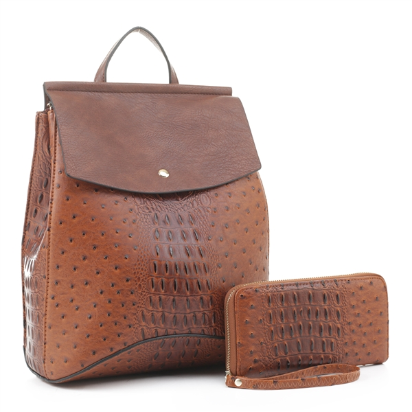 WHOLESALE DESIGNER INSPIRED BACKPACK HANDBAG EM1363AS BR/DBR