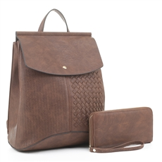 WHOLESALE DESIGNER INSPIRED BACKPACK HANDBAG EM1363S BRN