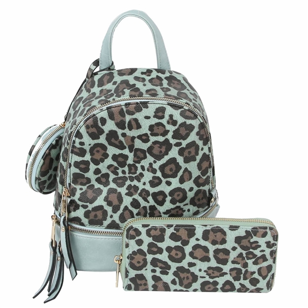 WHOLESALE DESIGNER INSPIRED BACKPACK HANDBAG LHU315 LEO BLUE