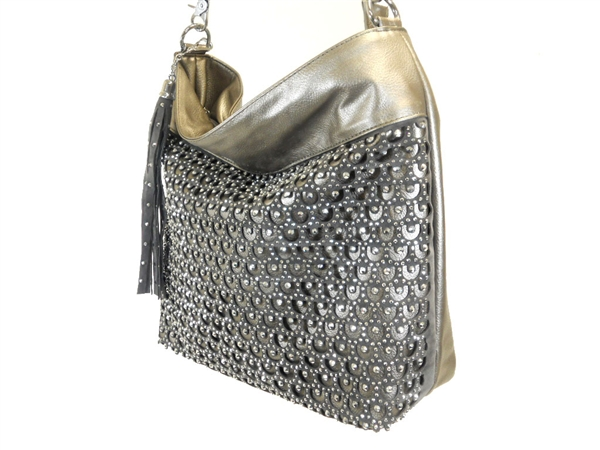 1ebfbadd35 WHOLESALE STUDED AND RHINESTONE PURSE HANDBAG 3474-GREY